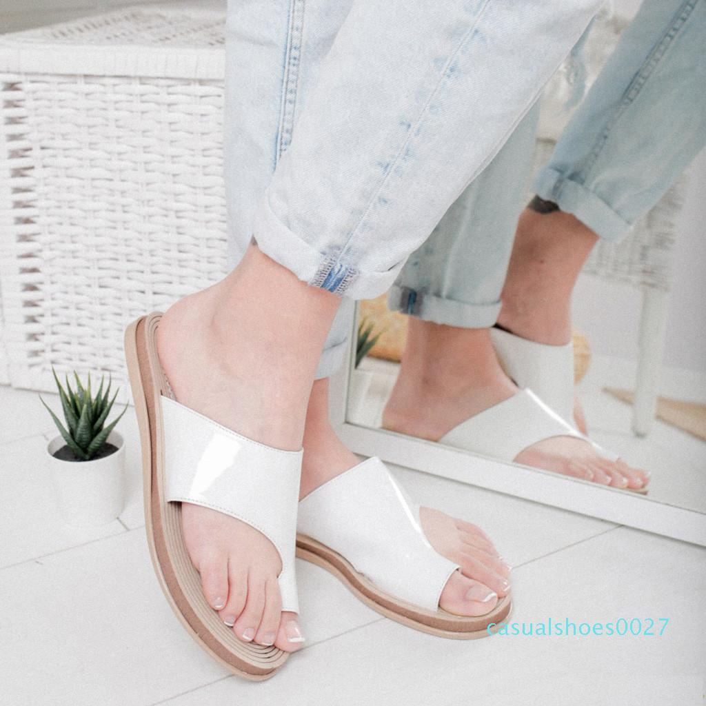 Womens Wohnungen Hausschuhe Plattform zwängt geöffnete Zehe-Knöchel-Strand-Schuhe Slip-On Round Toe Roman Hausschuhe Sandalen Sandalen de mujer c27