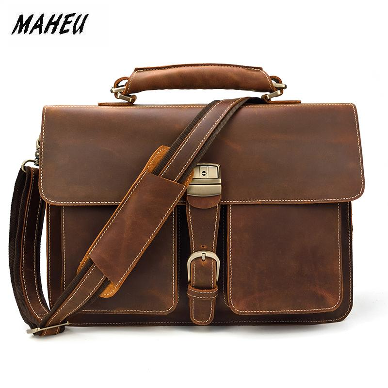 MAHEU Business Man Brief Case Crazy Horse PC Laptop Bags Soft Leather Official Messenger Bag For Men With Handle