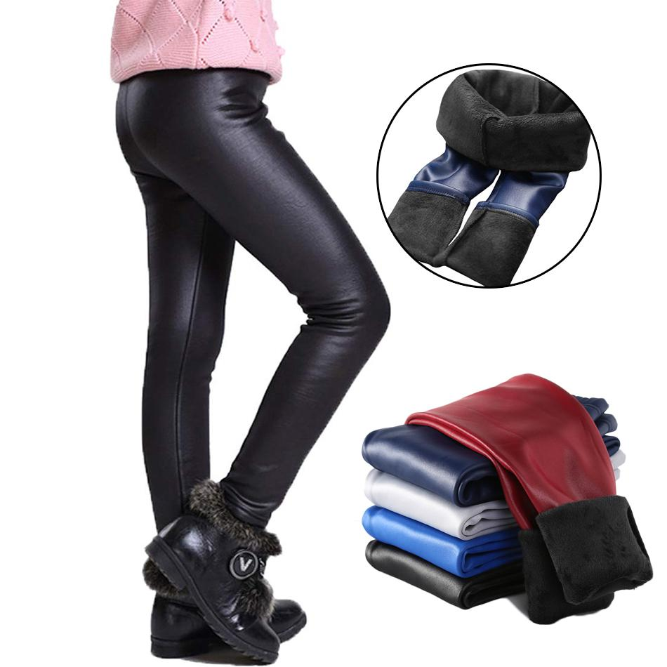 Girls Kids Leggings Children Stretch Winter PU Leather Fleece Lined Skinny Pants