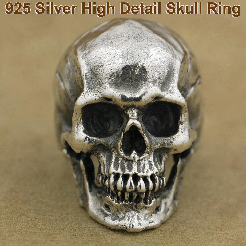 Anello in argento sterling alto e pesante 925 Anello con teschio alto dettaglio Anello cavaliere moda individualità Punk Retro Anello TA50 Formato USA 7 ~ 15 D19011502