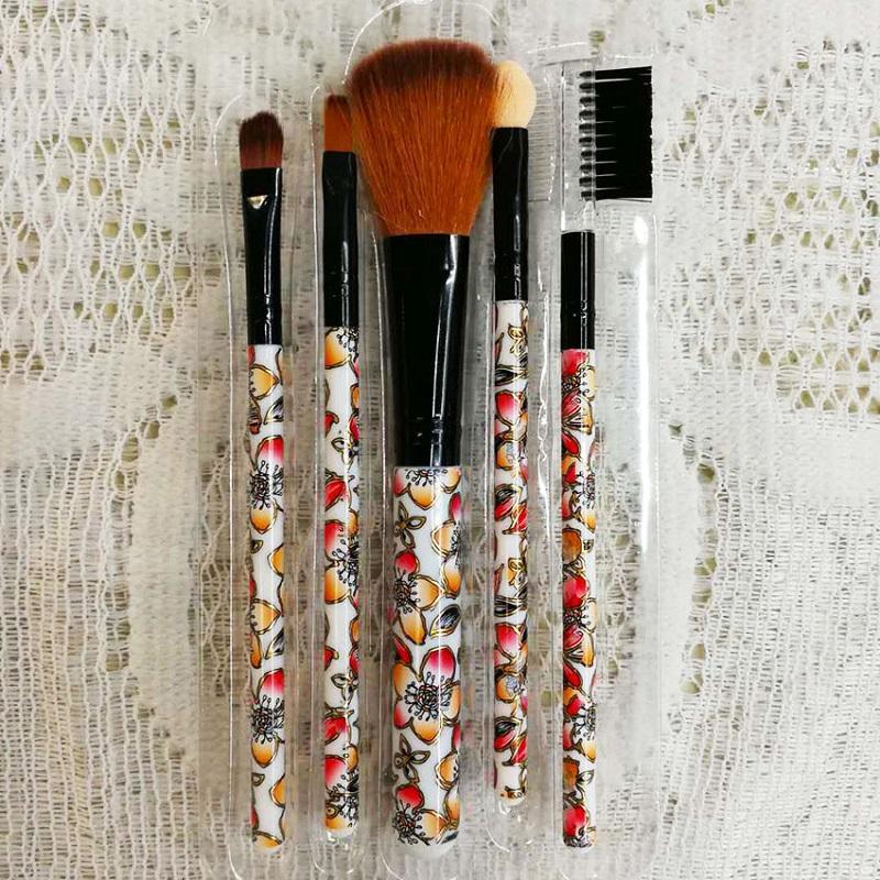 5 PCS Mini maquillage fleurs colorées pinceaux de maquillage Outils de beauté divers styles et 5 portables Ensembles