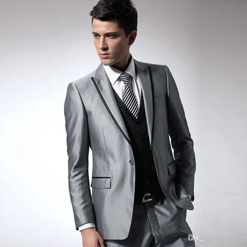 Sliver Men Suits for Wedding Groom Tuxedo Black Vent Groomsmen Blazers Best Man Jacket Costume Homme Mariage 3Piece Slim Fit Terno Masculino