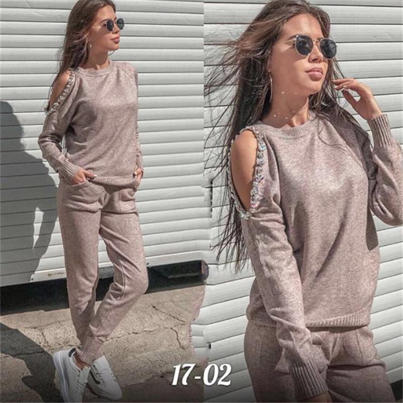 Frauen Pullover Anzug und Sätze beiläufige Art und Weise 2PCS Trainingsanzug Diamant Schulter Strickhose + Pullover Tops Kostüm-Kleidung Set