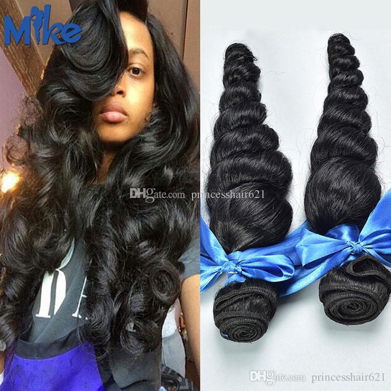 MikeHAIR peruanas Humanos cabelo solto Onda Tece cabelo 2 Pacotes 8-30Inch indígenas da Malásia brasileiros tece cabelo humano para Mulheres Negras