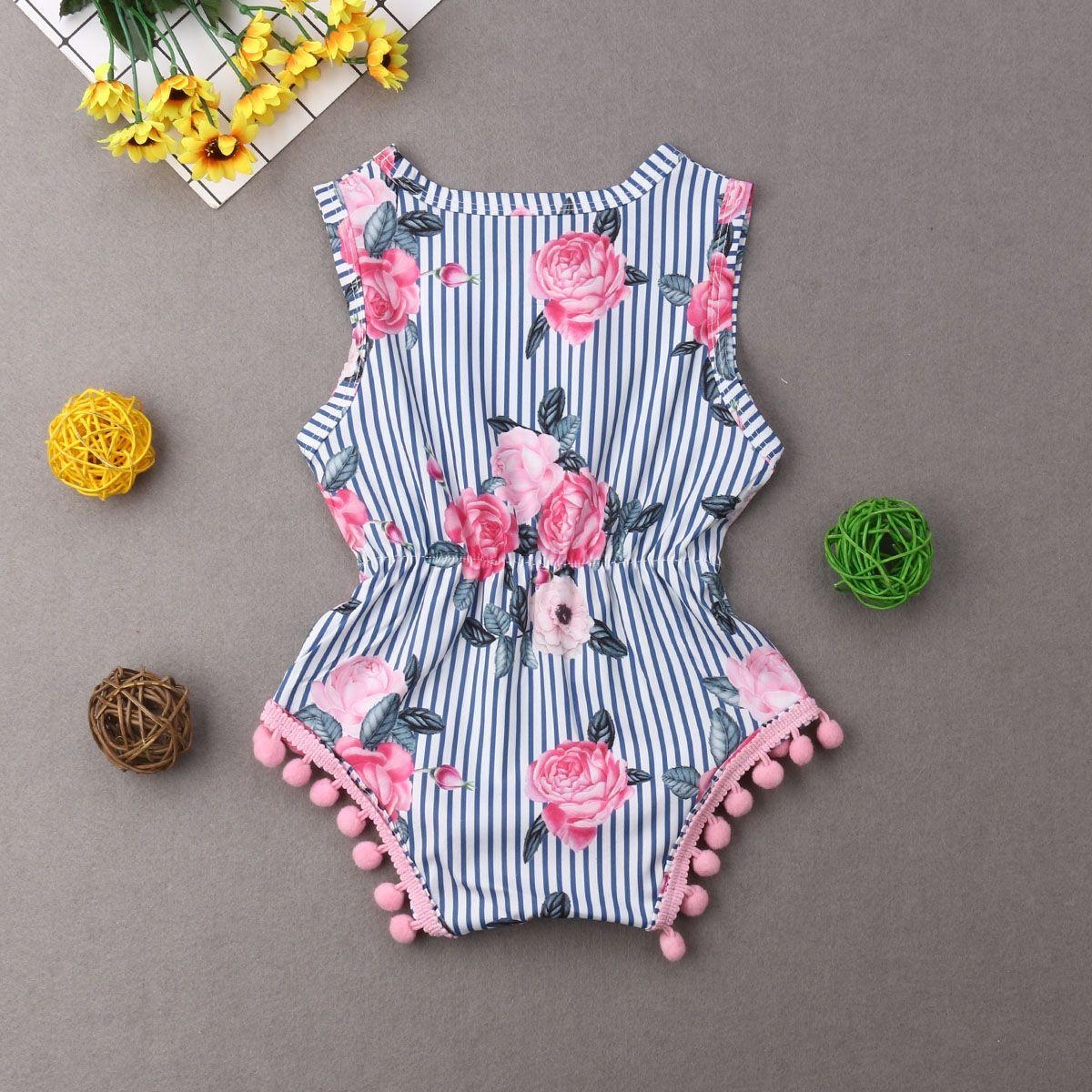 Verão Infante recém-nascido Bebés Meninas Bodysuits florais Jumpsuit Moda Tassel mangas Criança Bebê sunsuit Roupa Beachwear