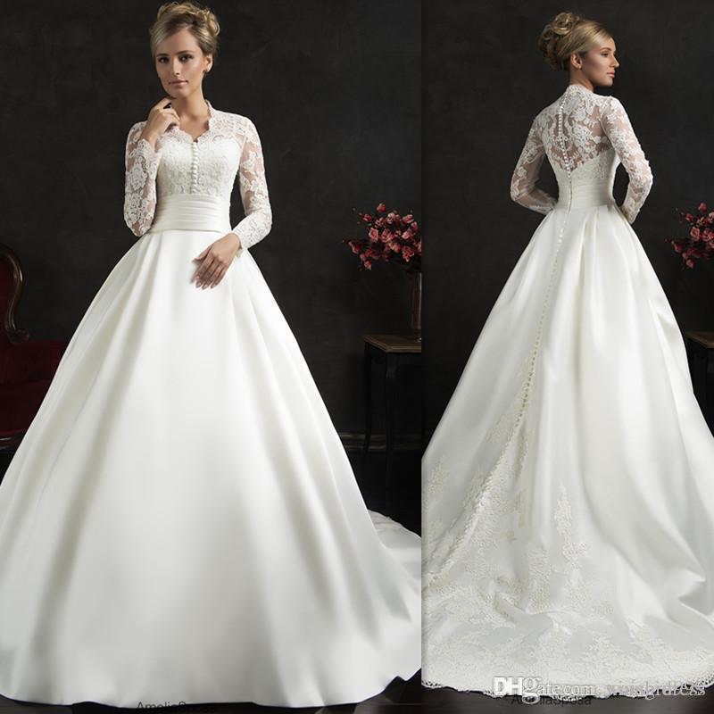 Waishidress White Amelia Sposa Wedding Dresses Appliques Lace Long Sleeves Wedding Gowns Sweep Train Ball Gown Bridal Dress Custom Made