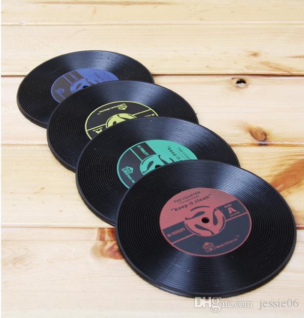 Silicone Coaster Vintage Disque Vinyle Coaster pour Table boissons tapis tapis Protection empêche Meubles dommages non slip