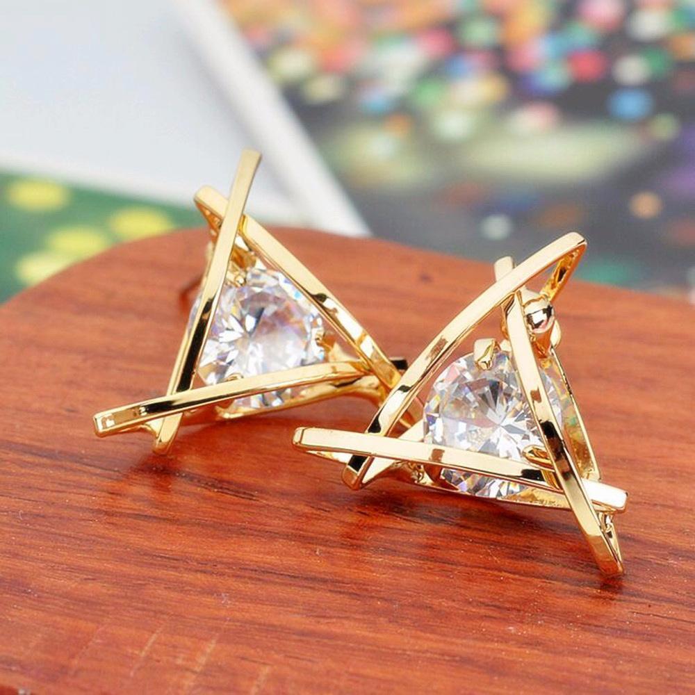 Fashion Elegant Crystal Rhinestone Heart Earrings For Women Luxury Big Zircon Triangle Square Statement Stud Earrings Jewelry