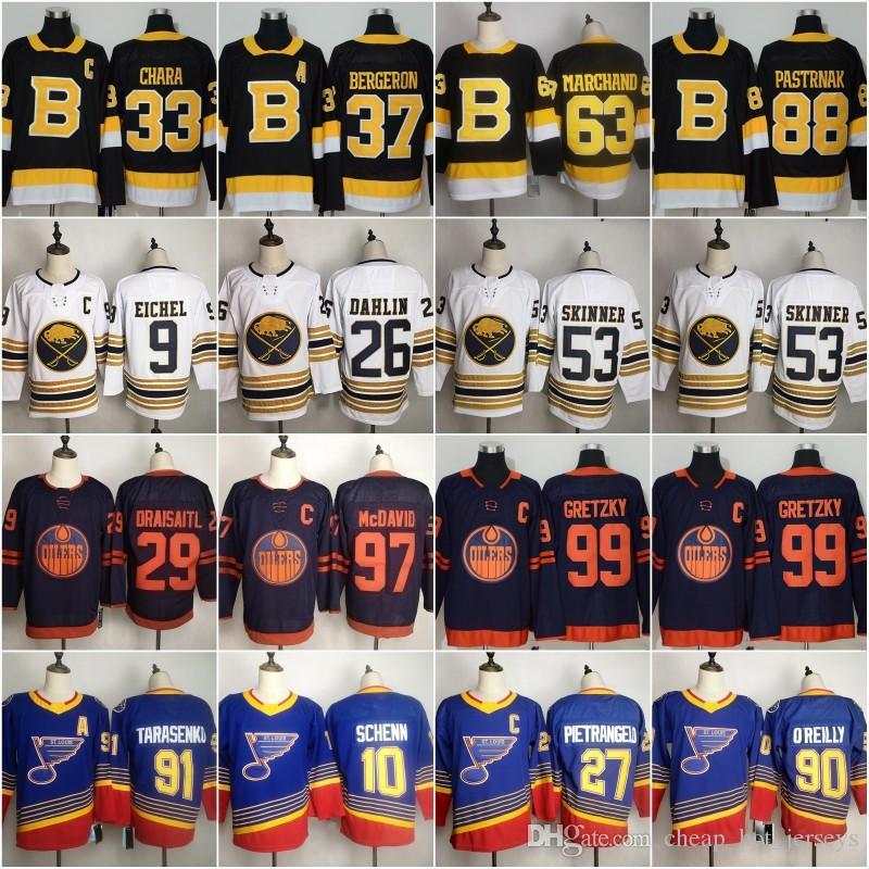 Edmonton Hockey Jerseys 97 Connor McDavid 37 Patrice Bergeron 33 Zdeno Chara 26 Rasmus Dahlin 91 Vladimir Tarasenko 10 Brayden Schenn