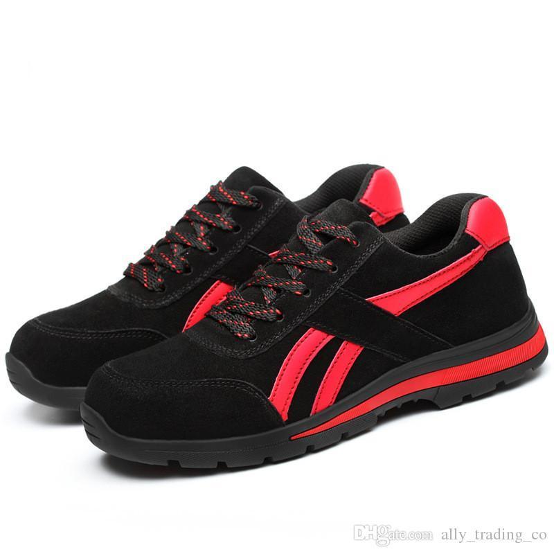Mens aço Toe Segurança do Trabalho Shoes Leve respirável Anti-esmagamento Anti-punção Anti-estático biqueira de aço Segurança do Trabalho Calçados masculinos Protective
