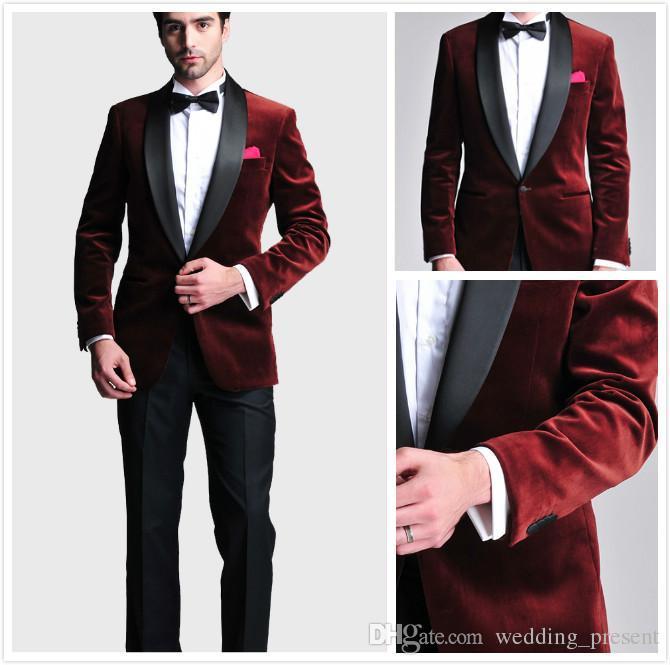 Burgundy Velvet Slim Fit Groom Tuxedos Wedding Suits Custom Made Groomsmen Best Man Prom Suits Black Pants (Jacket+Pants+Bow Tie+Hanky)