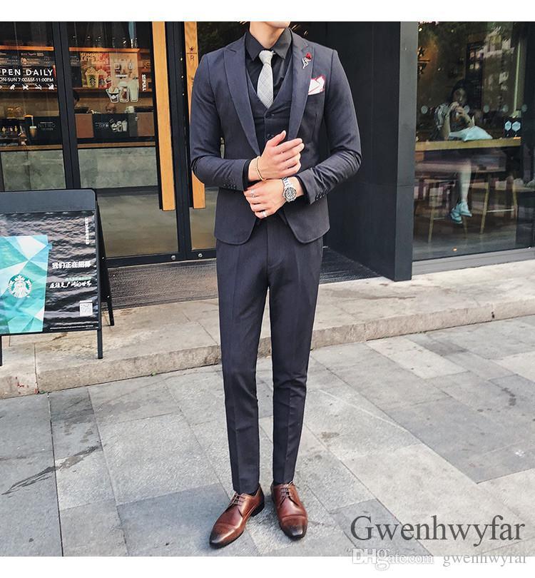 2019 Moda Masculina Ternos Custom made Tamanho e Cor Um Botões Do Noivo Smoking Cinzento Groomsman / Noivo Casamento Terno (jaqueta + calça + colete)