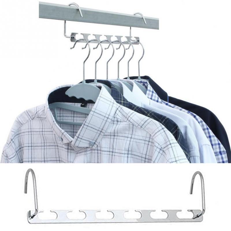 1 قطع 37 سنتيمتر متعددة الوظائف مساحة توفير الشماعات المعدنية مع هوك ماجيك 6 حفرة الملابس خزانة المنظم الملابس الحديد تجفيف الرف Y492