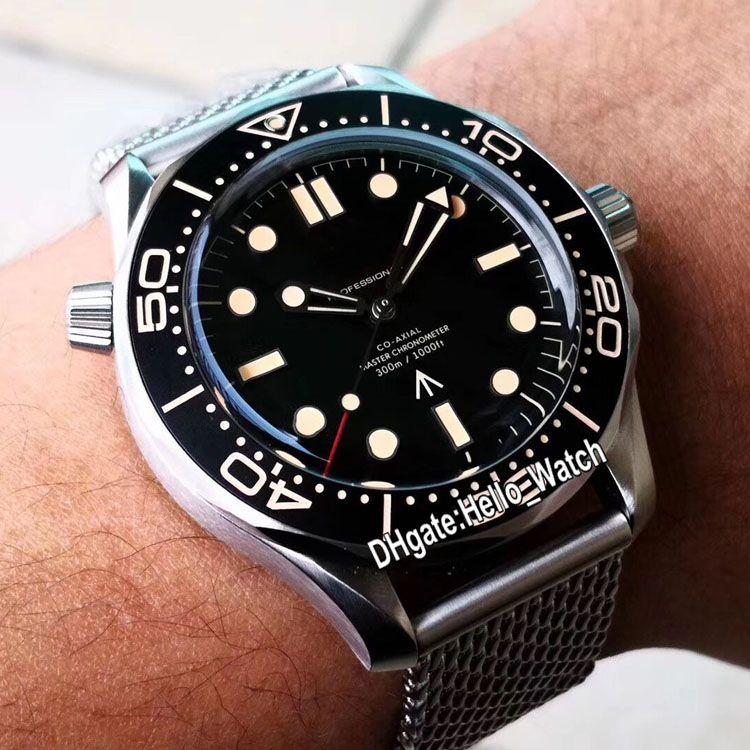 """새로운 다이버 300M 제한 210.90.42.20.01.001 블랙 다이얼 자동 남성 시계 메쉬 스트랩 시계 Hello_Watch을 007 제임스 본드 """"죽을 시간이 없다"""""""
