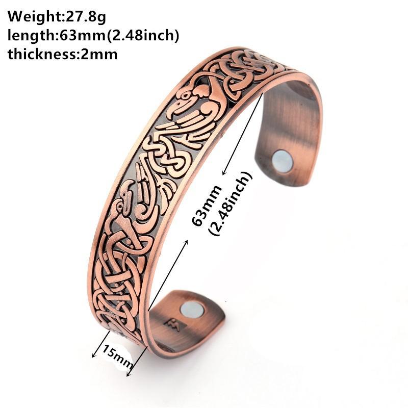 My Shape Health Magnetic Therapy Bracelets Phoenix Totem Antique Copper Tone Cuff Bangle Zinc Alloy Engraved Vintage Bracelet