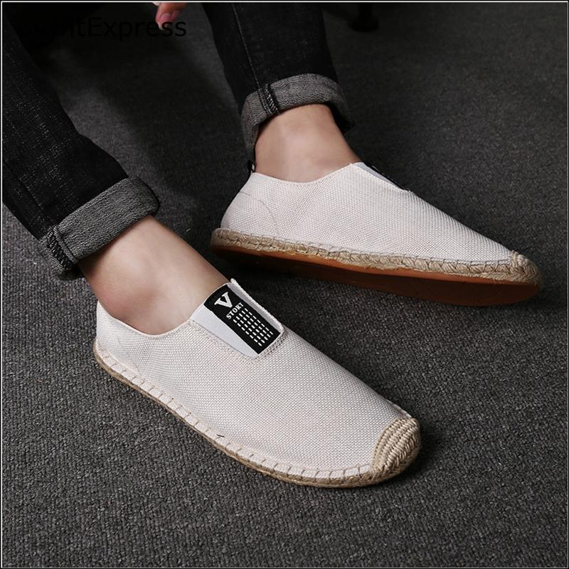 2020 toile chaussures plates Linen Homme Chaussures Casual Slip Automne sur Mocassins chinois Espadrille Fashion Garden Walk, promenade