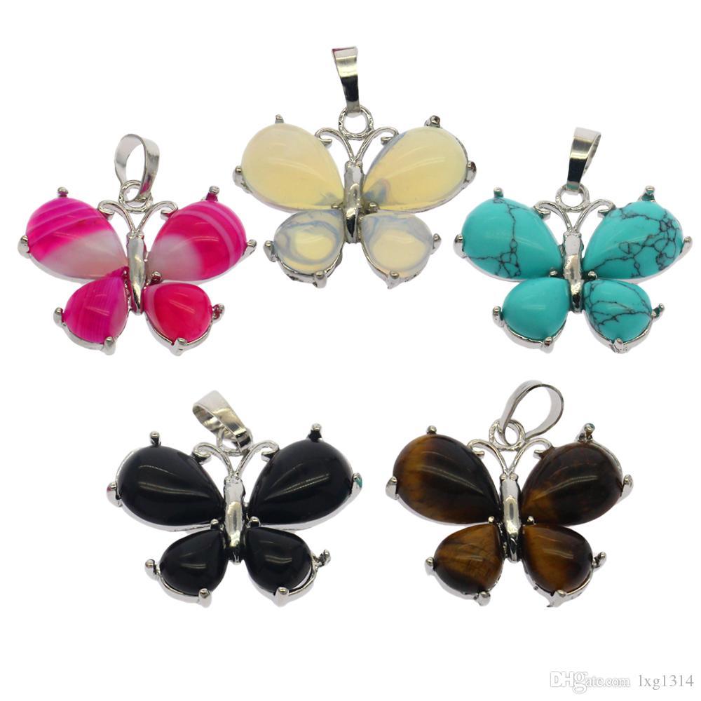 La moda de bricolaje joyas de piedras preciosas naturales aleación mariposa en forma de 5 colores colgante de piedras preciosas