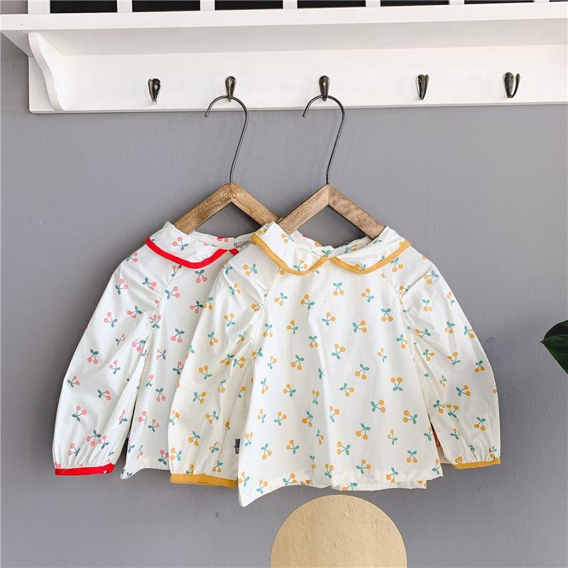 Korean Style Baby Girls Floral Cherry Printed Blouses 2020 Autumn Toddlers Children Tops Peter Pan Collar Long Sleeve Kids Shirt
