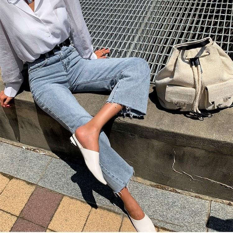 Mode 2019 Herbst Vintage-Denim-Hosen Flare Jeans-Frauen-beiläufiger Knopf lose Hosen mit hohen Taille feste Hosen T200423
