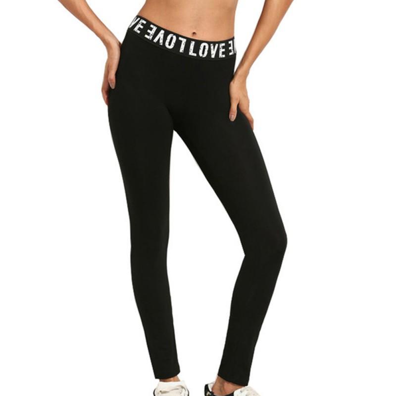 Женщины высокая талия йога брюки сплошной цвет письмо резинка полиэстер дышащий Бегун фитнес леггинсы