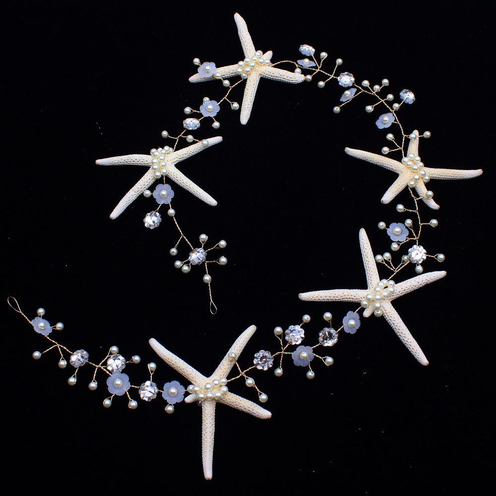 Handmade 60 Cm Beautiful Starfish Mermaid Bridal Tiara Crown Bride Women Chaplet Hair Ornaments Wedding Head Jewelry Accessories J 190430
