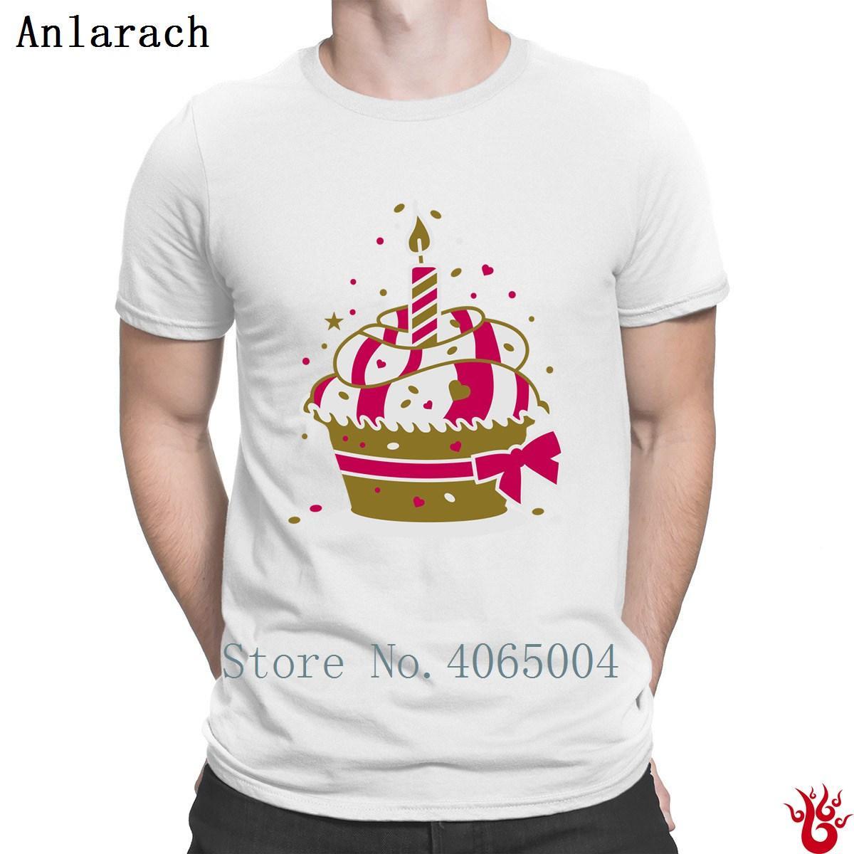 Orijinal Erkekler en Tee Gömlek Yaz HipHop Ilginç Küçük Doğum Günü Pastası Olan Bir Mum Tee Shirtss Yeni Stil Kısa Kollu Ailesi Tops