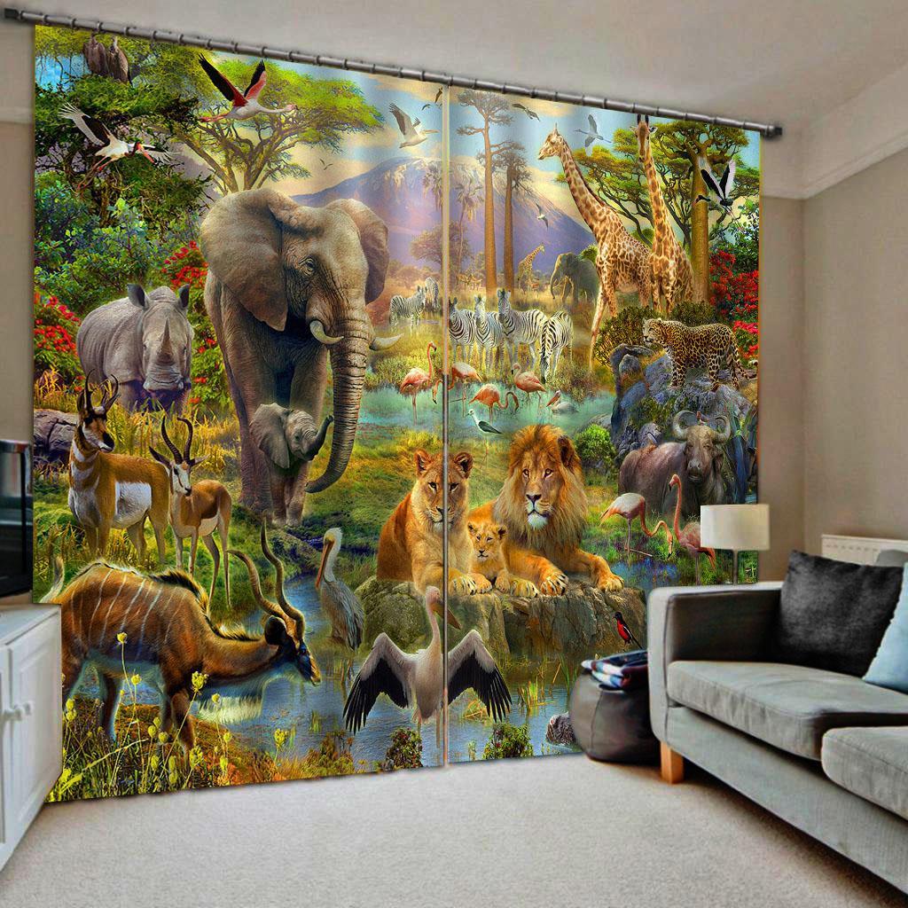 Hayvan perdeleri Lüks Blackout 3D Pencere Perde İçin Salon Yatak odası Özelleştirilmiş boyut karartma perdeleri