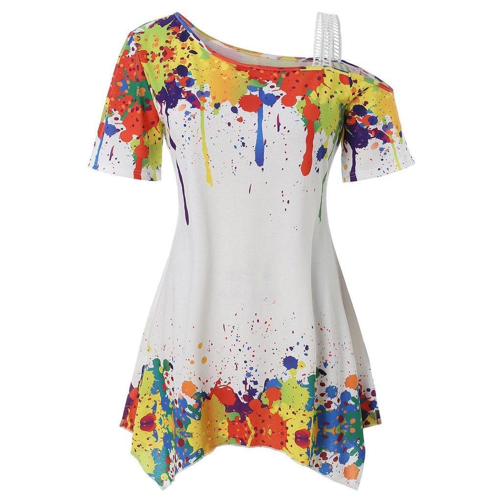 Fashion Women Skew Neck Long Sleeve Casual Splatter Print Sweatshirt Top Blouse