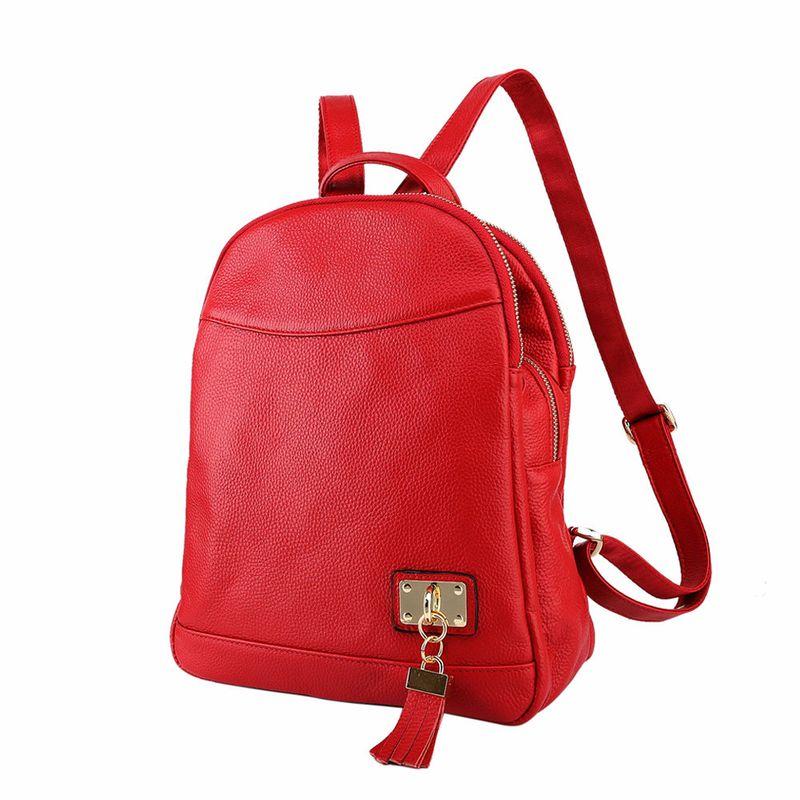 Women Vintage Fashion Anti-theft Real Leather Backpacks Ladies New Korean Tassel Casual Bookbags