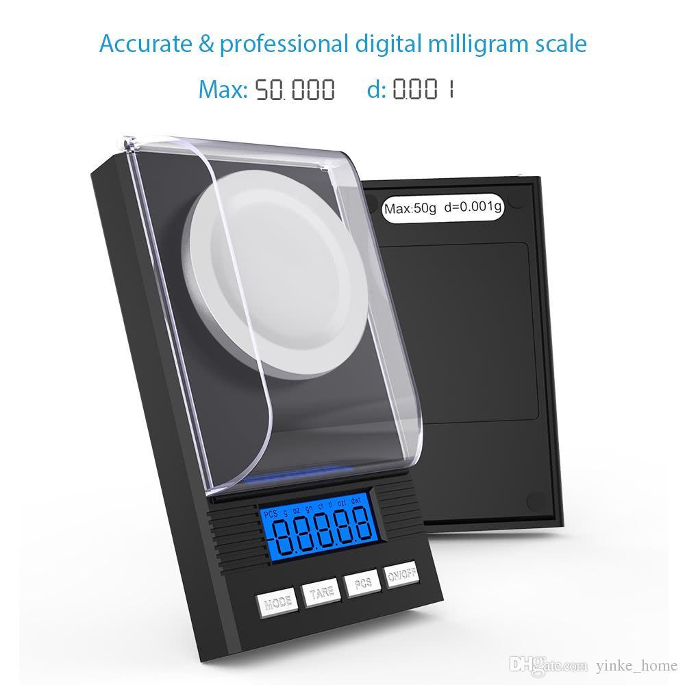 مقياس رقمي صغير للذهب والفضة والمجوهرات الاسترليني الرصيد الوزن عالية الدقة ملليجرام الموازين الإلكترونية 50G / 0.001g