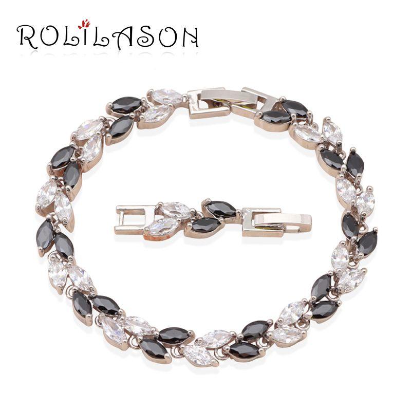 ROLILASON Mutter Tag Klassische schwarze Kristall Blätter Design Charmearmbänder Gesundheit Modeschmuck TB445 freies Verschiffen