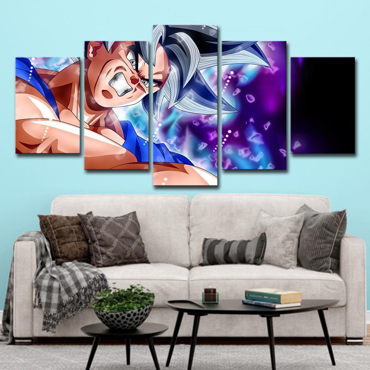 2020 anime japonés pared de la decoración de la pared del restaurante Goku colgante pintar la lona de arte Pintura póster de la película Decoración HD Imprimir 5 pedazos / sistema
