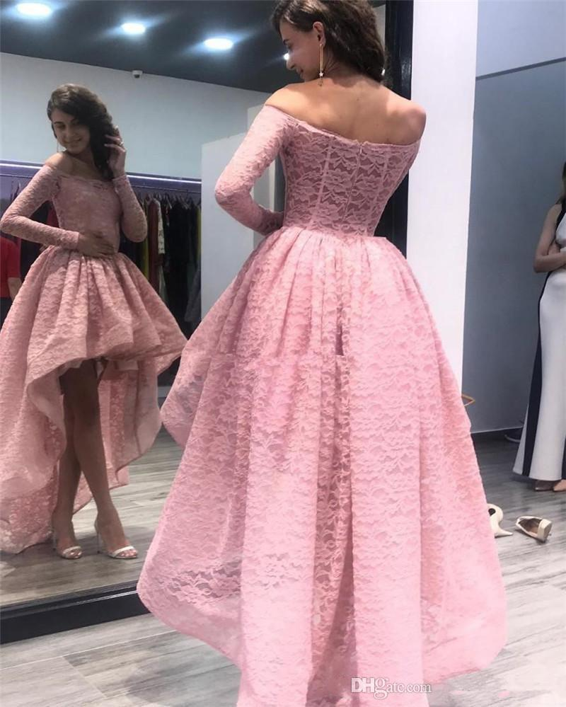 2020 Black Lace High Low Prom Dresses Off Shoulders Long Sleeves Evening Dress Backless Cheap Cocktail Homecoming Gowns Custom Formal Dress