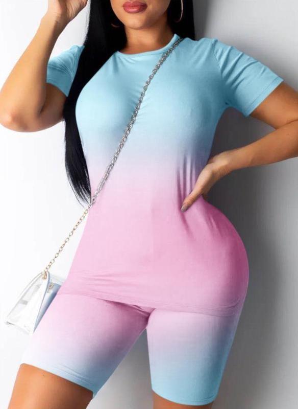 2Pcs / Set Donne Set Yoga Sport Suit Tie Dye Top Pantaloni corti in corso in bicicletta Sportswear Summer Fashion Outfit Tuta casuale