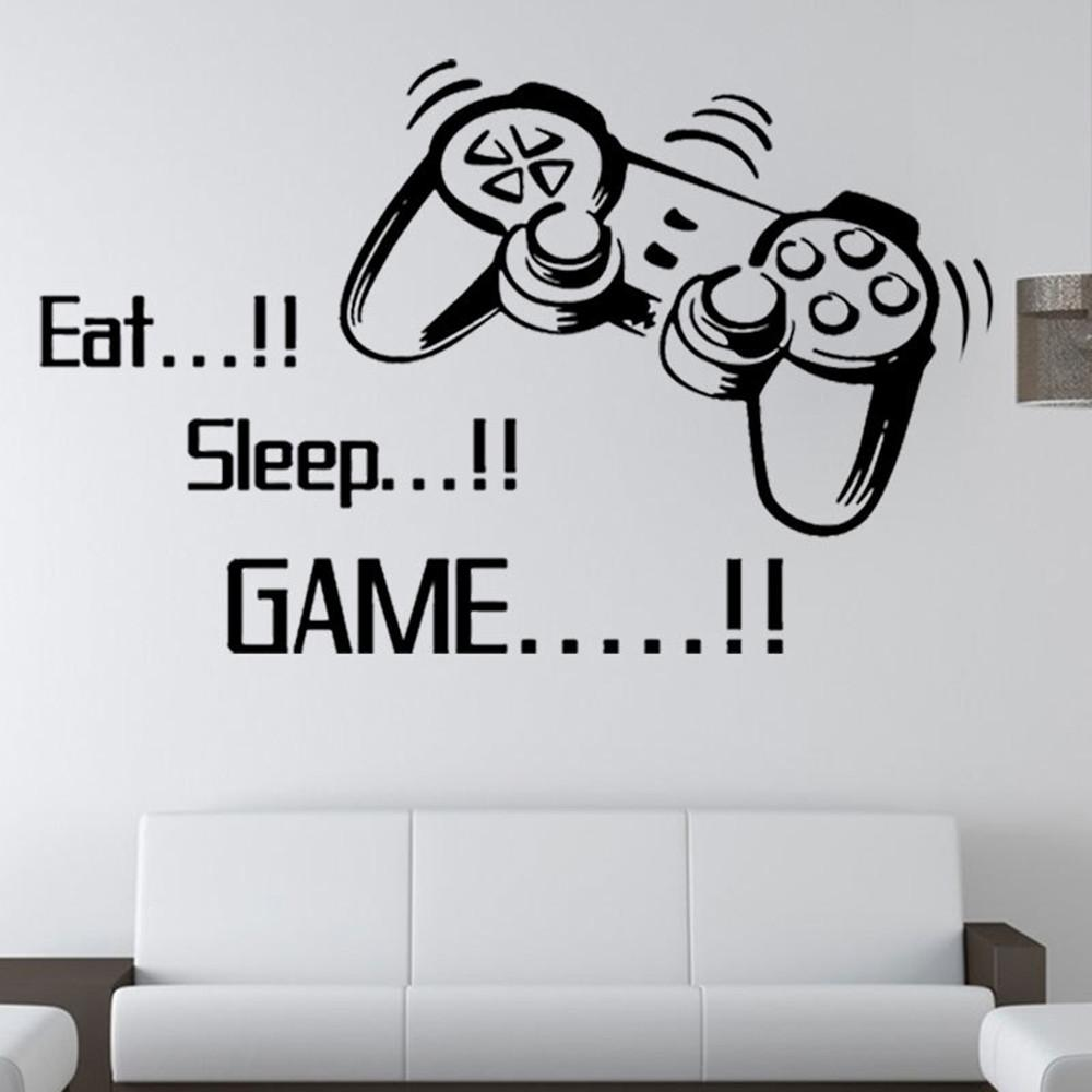 Eat Sleep Game Wall Decals Removable DIY Lettering Wall Stickers for Boys Bedroom Living Room Kids Rooms Wallpaper Home Decor