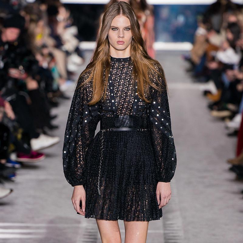 2019 осень черный сплошной цвет пояса короткие мини с длинным рукавом экипаж шеи мода взлетно-посадочной полосы платья Vestidos 9N12YDY10D