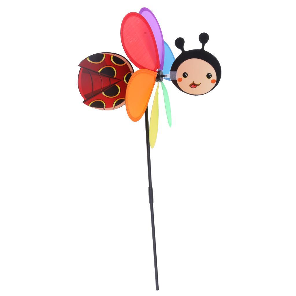 3D جميل الدعسوقة الطاووس الطاحونة المروحة لعبة حديقة في الهواء الطلق ملون