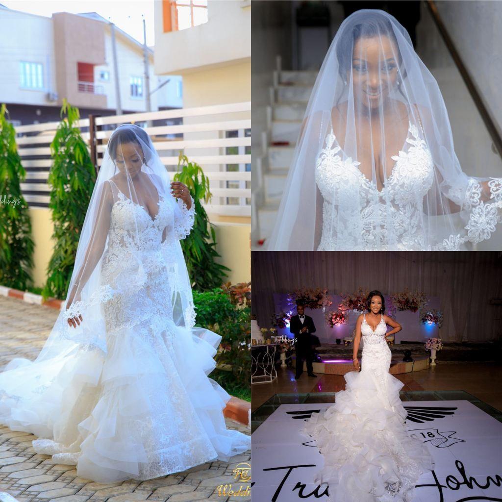2020 dentelle de luxe appliqued col en V sirène robes de mariée Vintage gaine en cristal perlé plus robe de mariée africaine Szie
