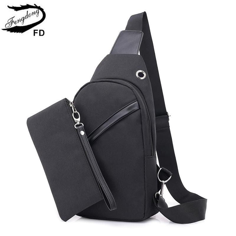 2pcs / set Fengdong pequeña bolsa de hombro una bolsa USB pecho carga honda hombres mensajero de viaje de los deportes crossbody