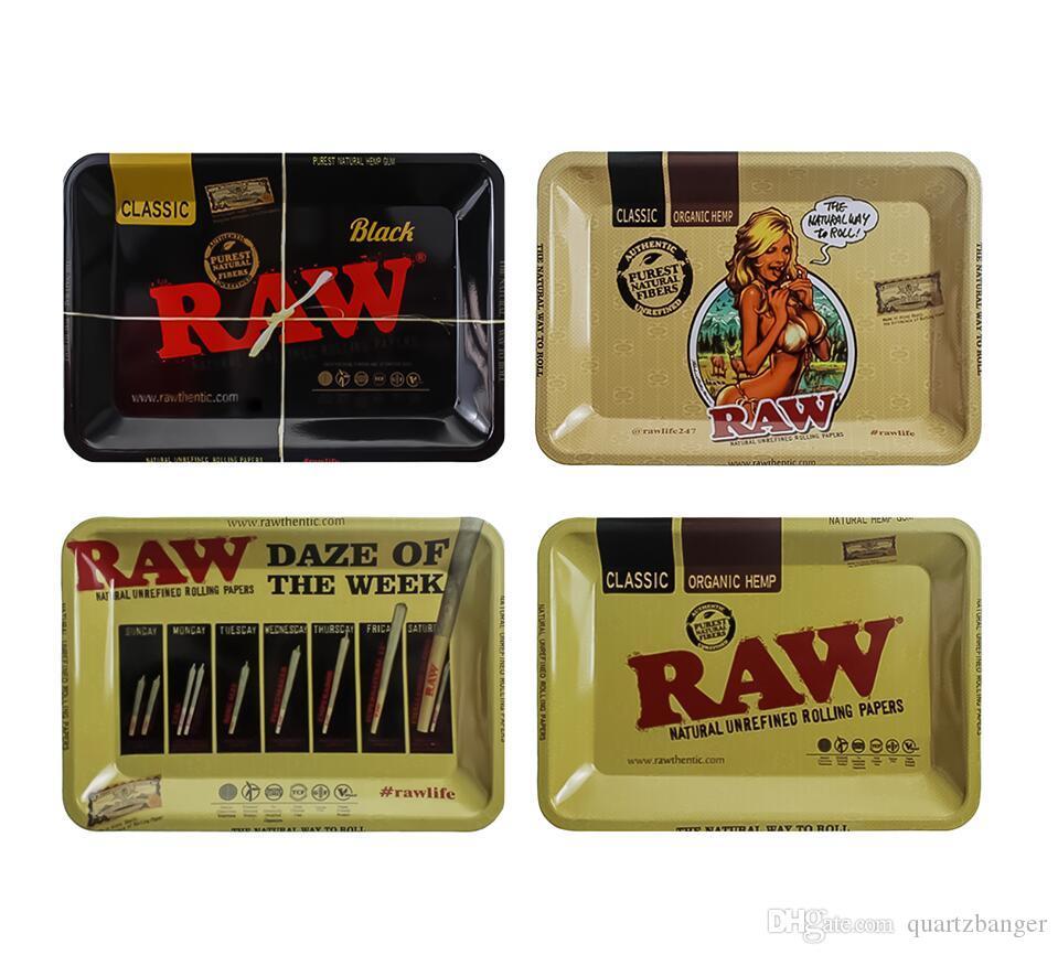 Prima de dibujos animados del balanceo bandeja de metal de cigarrillos fumar tabaco bandejas Plate la caja de almacenamiento 18 * 12.5cm 4 Estilos de recuerdos Máquina Herramienta