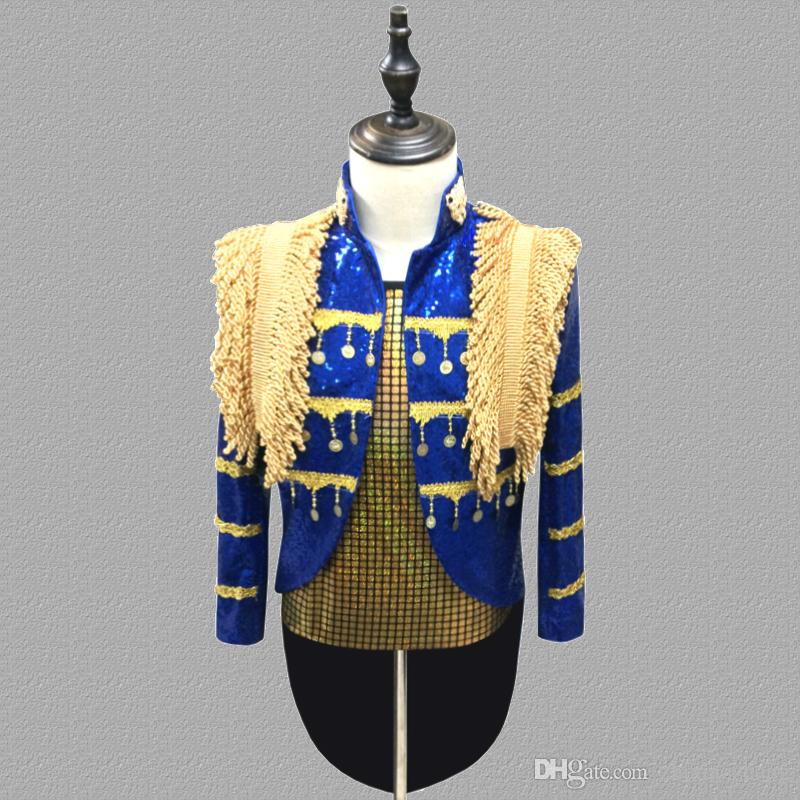 Tuxedo blazer men suits tassel jacket mens stage costumes for singers clothes dance star style dress punk rock masculino homme terno