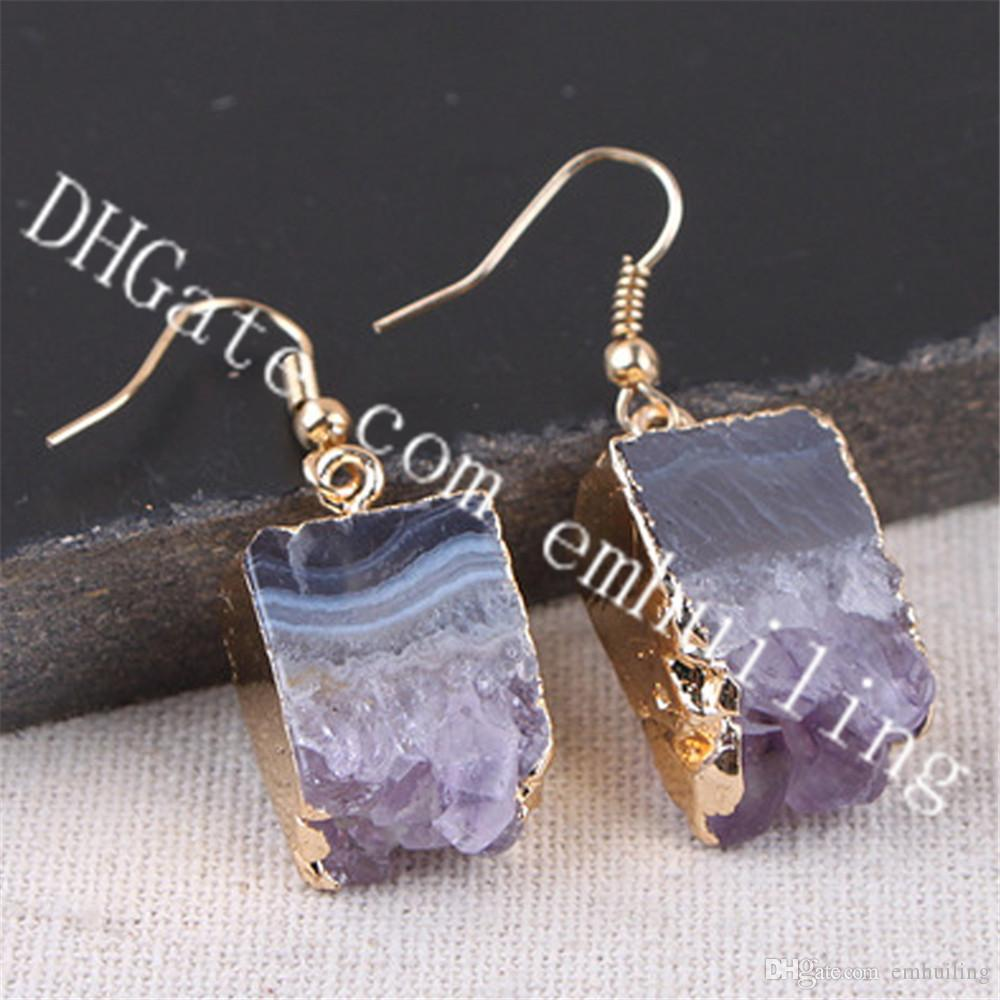 10Pairs Rectangular Drop Amethyst Stalactite Slice Earrings Raw Crystal Geode Stone Earrings Gold Plated Purple Druzy Drusy Earrings Jewelry