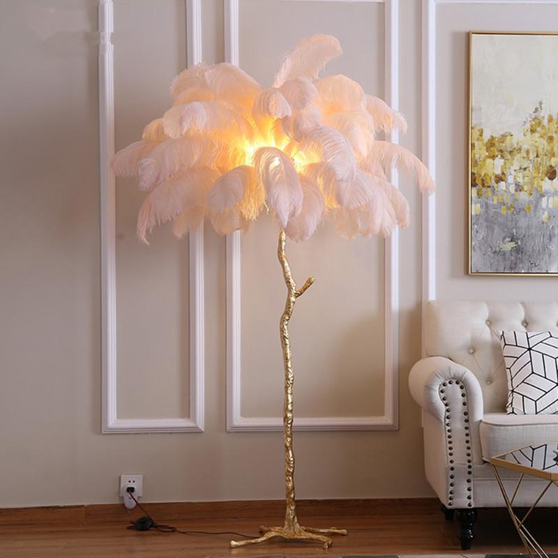 2020 Floor Lamp Modern Luxury Tree Branch Ostrich Feather Floor