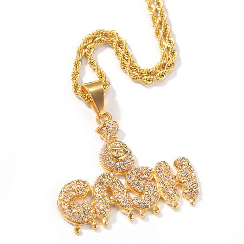 Carta de caixa Caixa Saco de aço inoxidável banhado a ouro 18K Water Drop Colar Iced Out Rhinestone Mens Bling Jewelry