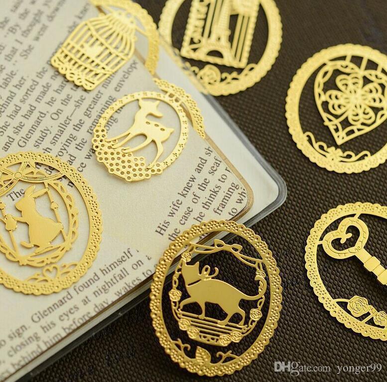 NOVO oco Out metal marcador criativa do laço do ouro dos desenhos animados Marcadores Papelaria Material Escolar do presente do favor multi Estilos 100pcs navio gratuito