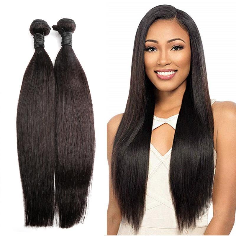 """Greatremy Doğal Renk İpeksi Düz Saç Paketler 2adet% 100 İşlenmemiş Malezya İnsan Saç Atkı Dokuma 8 """"-30"""" Bakire Saç Uzantıları"""