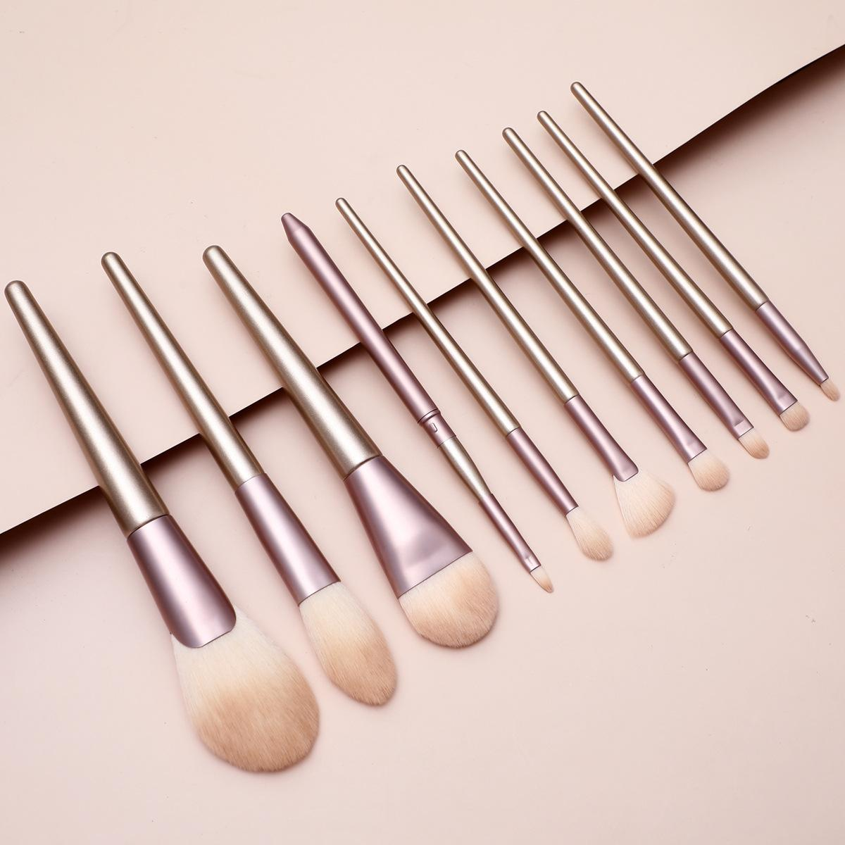 Champagne 10Pcs Makeup brush set Foundation Powder Eyeshadow Eyeliner Blending Synthetic Hair Wooden Handle Cosmetic Brushes Beauty Tools