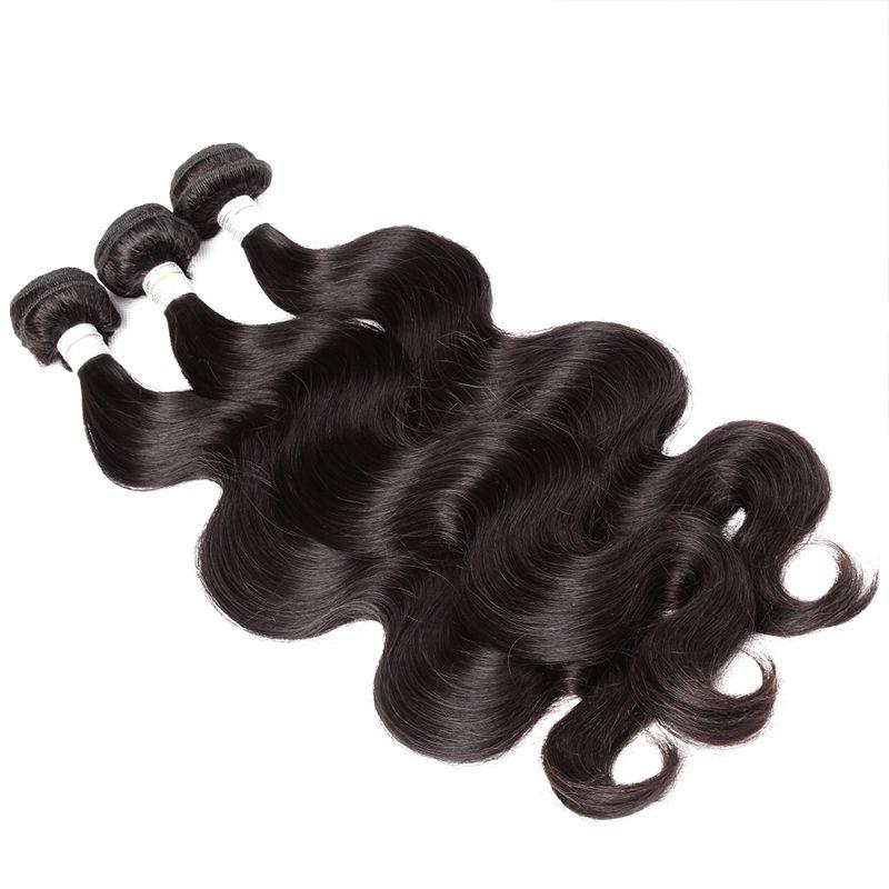 Brésilien Vierge Humain Cheveux Bodle Vague Corps 3bungles Extensions de cheveux Sans transformés Human Hair Thaft retourné accepté Bellahair