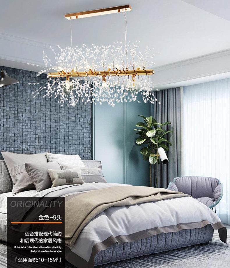 Retângulo LED Lustre De Luxo iluminação Cristal Sala de jantar Quarto Lustre prata dourada luz pendurada