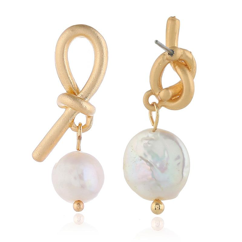 Wholesale-Metal Knotted Asymmetric Earrings for Freshwater Pearl Ear Nails